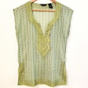 New York & Company Green Embroidered Tunic Top